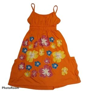 Girls summer dress orange floral with pocket.